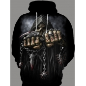 lovely Street Hooded Collar Tie-dye Black Hoodie