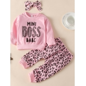 lovely Casual O Neck Letter Print Pink Girl Two-piece Pants Set