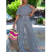 lovely Stylish O Neck Striped Black And White Two Piece Pants Set