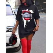 Lovely Casual O Neck Lip Print Black Mini T-shirt