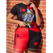 lovely Casual O Neck Print Patchwork Black Two Piece Shorts Set