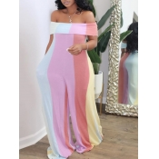 lovely Trendy Dew Shoulder Rainbow Striped Multicolor One-piece Jumpsuit