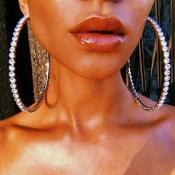 Lovely Street Rhinestone Decorative Gold Earring