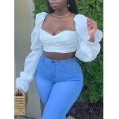 lovely Trendy Square Collar Fold Design White Blouse