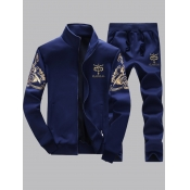 Lovely Men Stylish Print Zipper Design Deep Blue Two-piece Pants Set