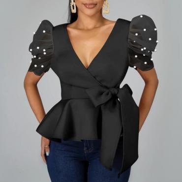 lovely Trendy Deep V Neck Flounce Design Black Blouse