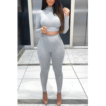 lovely Casual Basic Skinny Grey Two piece Pants Set