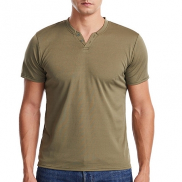 lovely Casual Buttons Design Army Green T-shirt