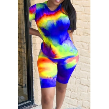 lovely Casual Tie Dye Blue Two Piece Shorts Set