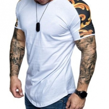 lovely Casual O Neck Patchwork White T-shirt