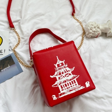 lovely Chic Chain Strap Red Crossbody Bag