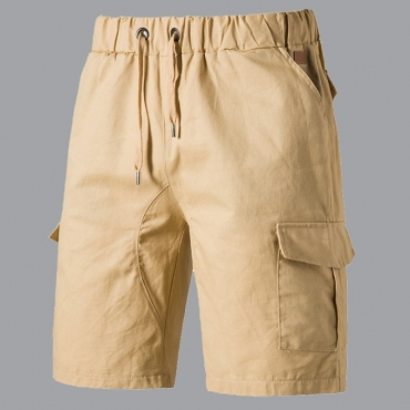 lovely Casual Pocket Patched Yellow Shorts