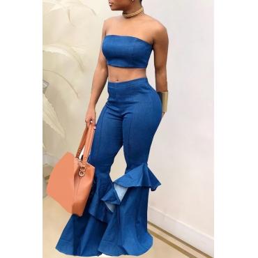 lovely Stylish Flounce Design Flared Blue Denim Two-piece Pants Set