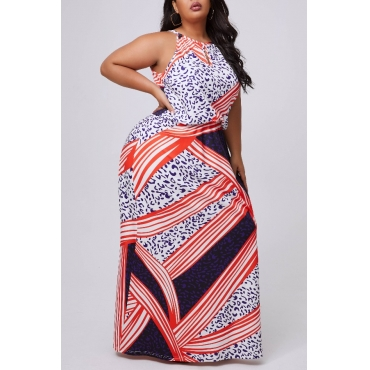 lovely Casual Print Multicolor Maxi Plus Size Dress