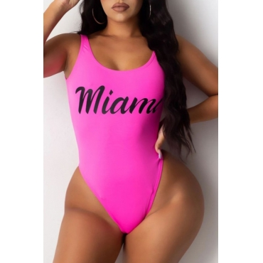 lovely Letter Print Rose Red Plus Size One-piece Swimsuit