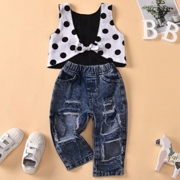 lovely Sweet Dot Print Blue Girl Two-piece Pants Set