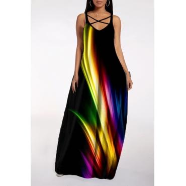 lovely Bohemian V Neck Tie-dye Black Maxi Dress
