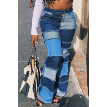 Lovely Stylish Patchwork Blue Plus Size Jeans
