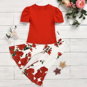 lovely Trendy O Neck Print Red Girl Two-piece Pants Set