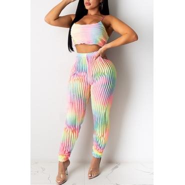 lovely Trendy Tie-dye Multicolor Two-piece Pants Set