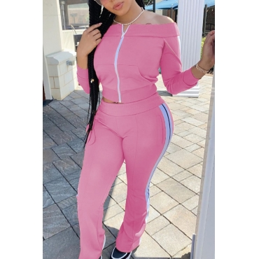 lovely Sportswear Patchwork Pink Two-piece Pants Set