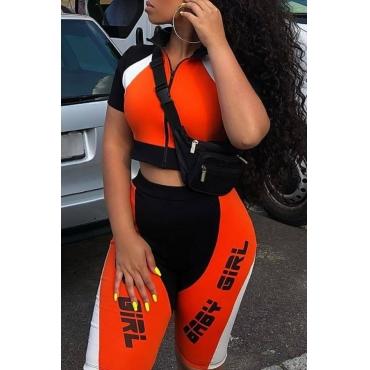 lovely Sportswear Letter Patchwork Orange Two-piece Shorts Set