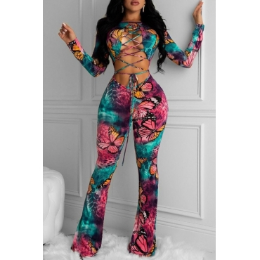 lovely Trendy Butterfly Print Bandage Design Dark Pink One-piece Jumpsuit