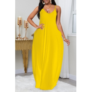 Lovely Leisure Pocket Patched Yellow Maxi Plus Size Dress
