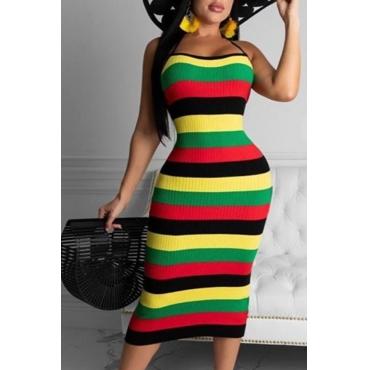 lovely Trendy Striped Yellow Knee Length Dress