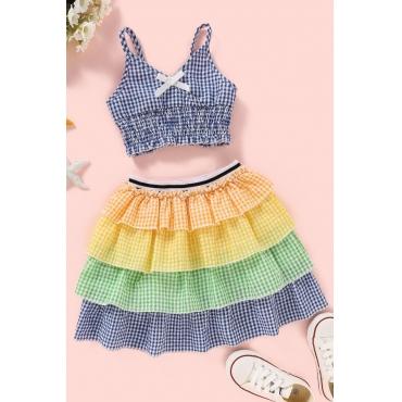 lovely Sweet Grid Print Multicolor Girl Two-piece Skirt Set