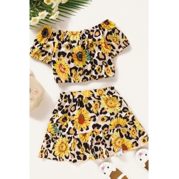 lovely Sweet Floral Print Yellow Girl Two-piece Skirt Set