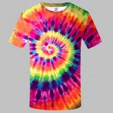 lovely Stylish O Neck Tie-dye Multicolor T-shirt