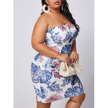 lovely Sexy Off The Shoulder Multicolor Mini Plus Size Dress