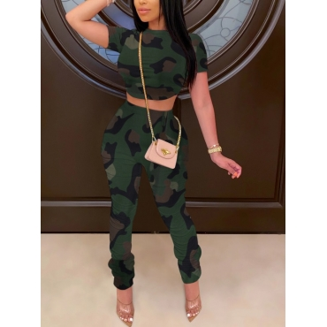 lovely Casual O Neck Camo Print Lace-up Two Piece Pants Set