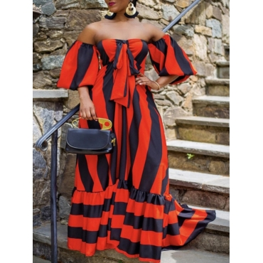 lovely Bohemian Dew Shoulder Striped Red Maxi Dress
