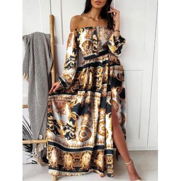 lovely Bohemian Dew Shoulder Versace Print Yellow Maxi Dress