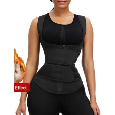 Lovely Sportswear Zipper Design Black Waist Traine