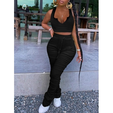 Lovely Sexy Fold Design Skinny Black Two Piece Pan