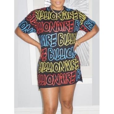 lovely Leisure O Neck Letter Print Black Mini Dres