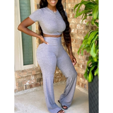 LW Casual V Neck Fold Design Grey Two Piece Pants Set
