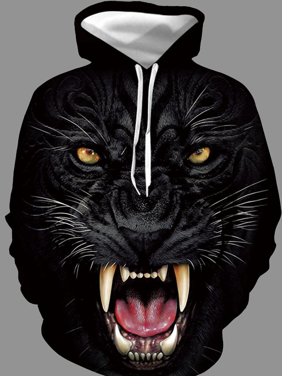Hoodies lovely Stylish Hooded Collar Animal Print Carbon Black Hoodie фото