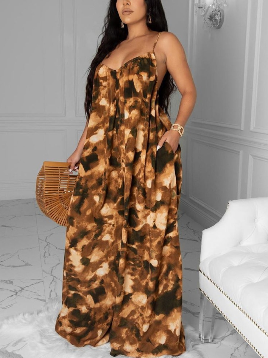 Lovely Trendy Spaghetti Strap Print Brown One-piece Jumpsuit фото