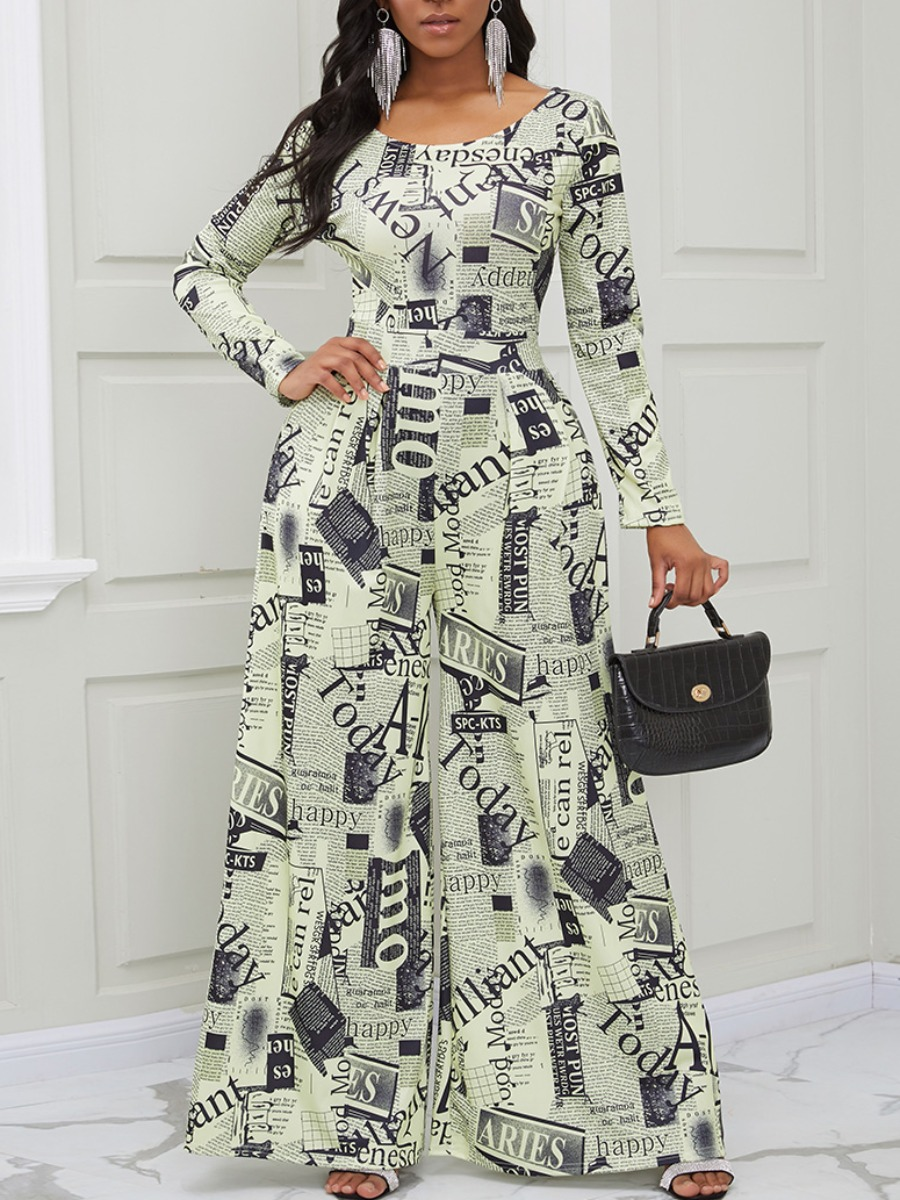 Lovely Trendy O Neck Letter Print Light Yellow One-piece Jumpsuit фото