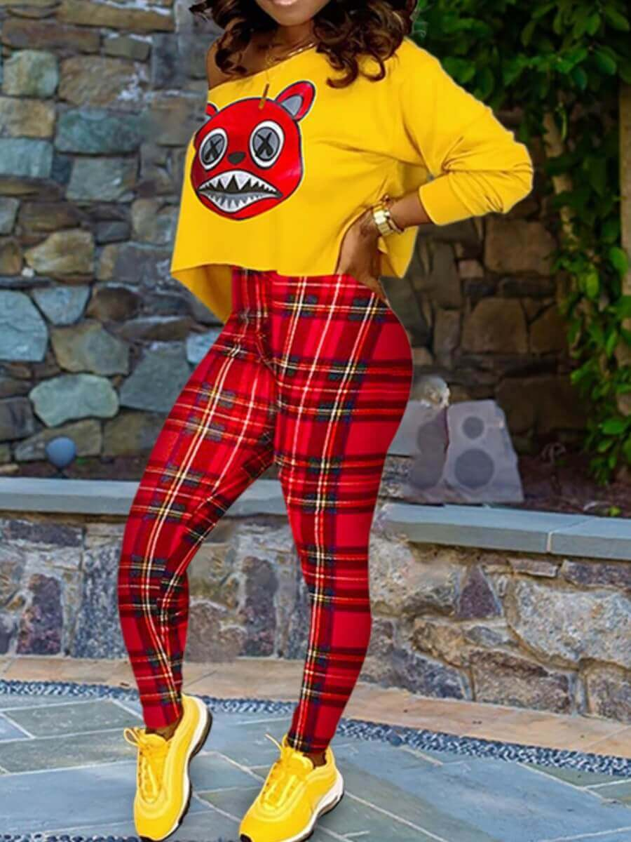Two-piece Pants Set lovely Casual Cartoon Print Yellow Two Piece Pants Set фото
