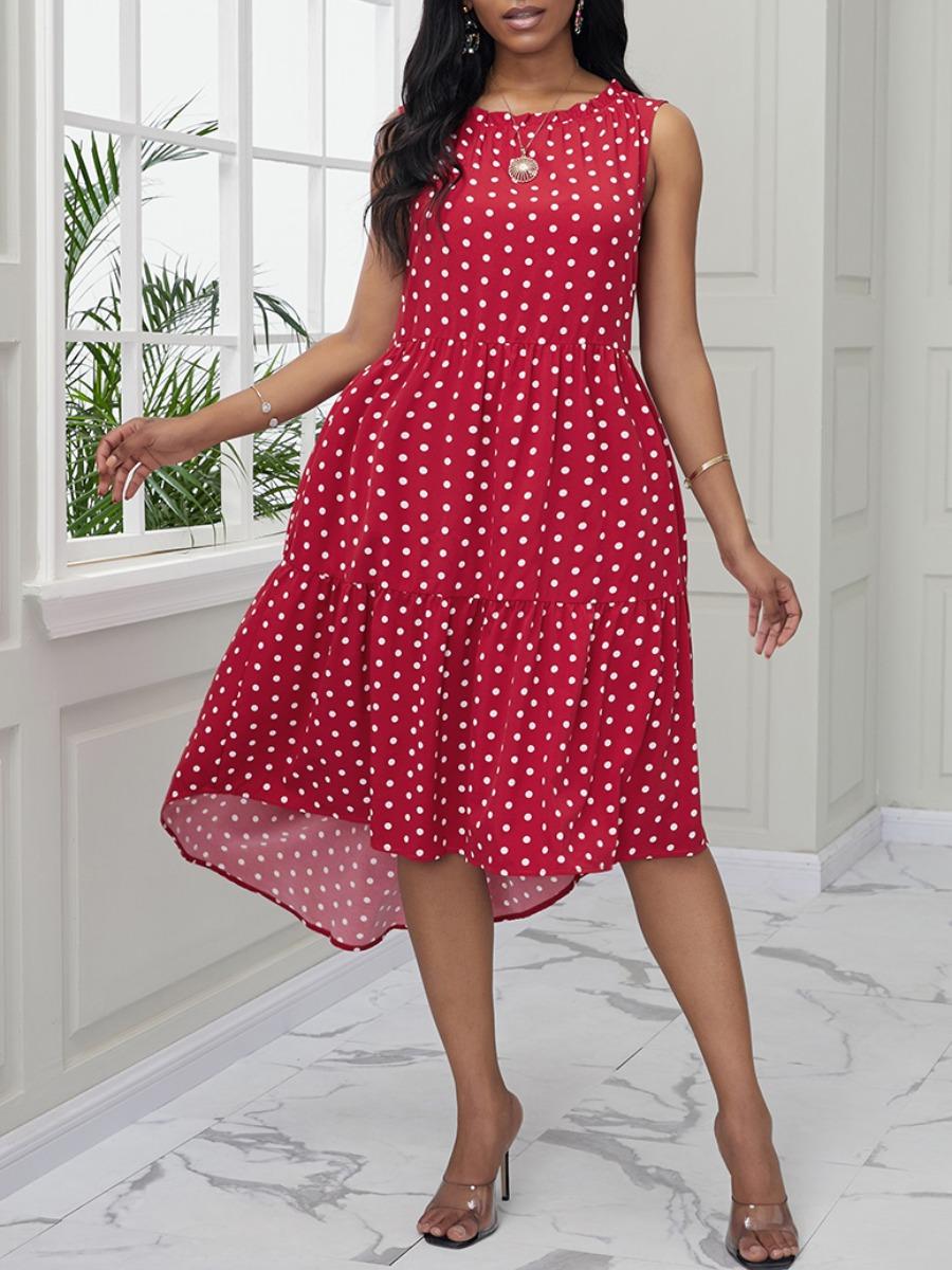 Lovely Sweet O Neck Dot Print Red Mid Calf Dress фото
