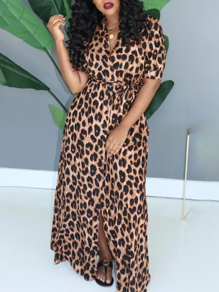 Lovely Trendy V Neck Leopard Print Maxi Dress фото
