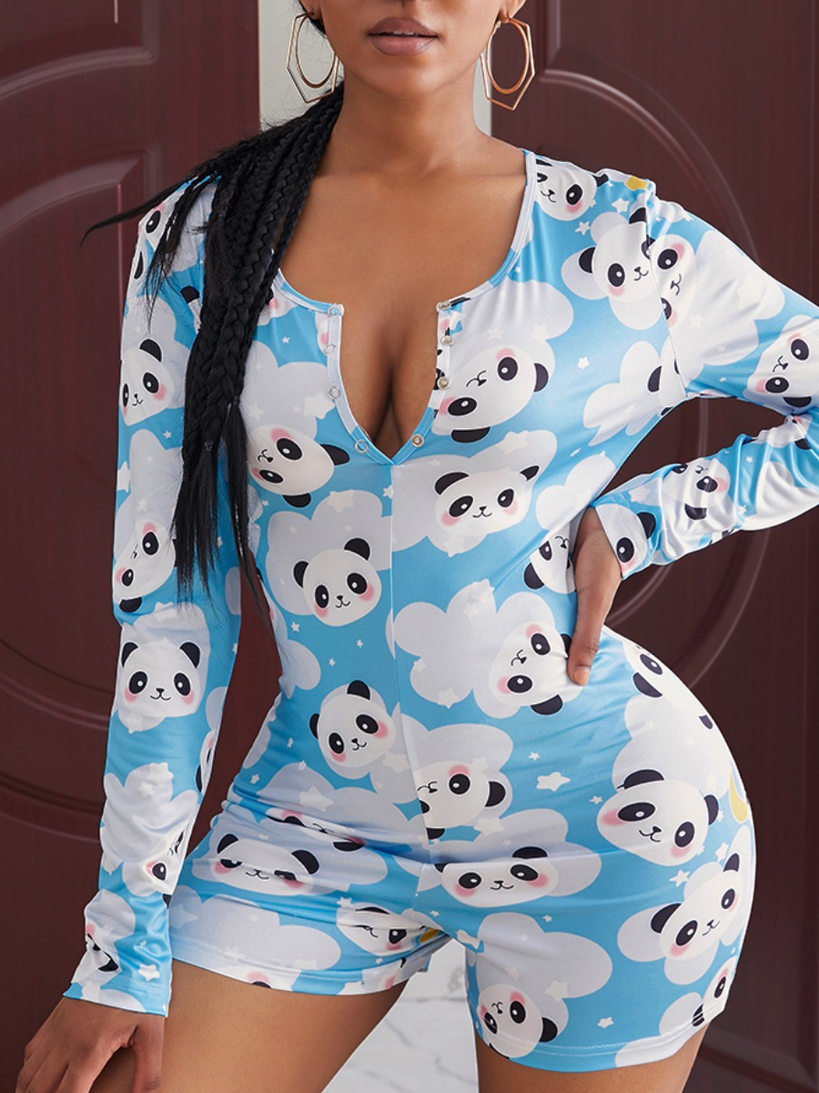 Rompers lovely Leisure Cartoon Print Skyblue One-piece Romper фото