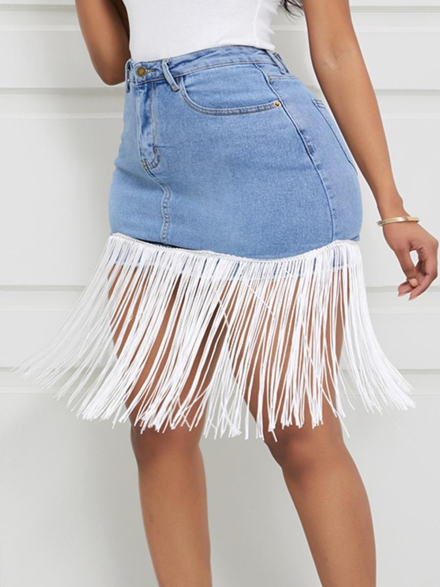 Lovely Trendy Tassel Design Baby Blue Denim Skirts фото