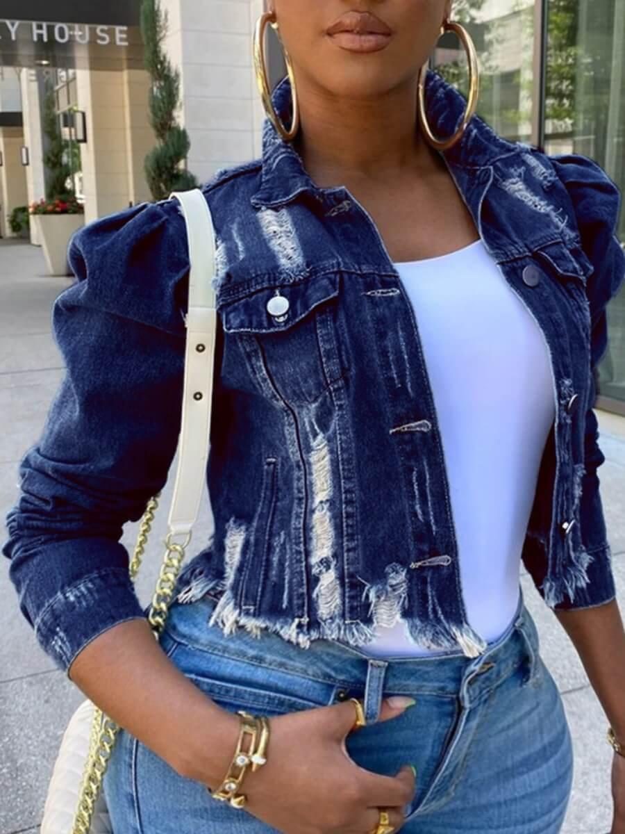 Lovely Street Turndown Collar Buttons Design Deep Blue Plus Size Denim Jacket фото