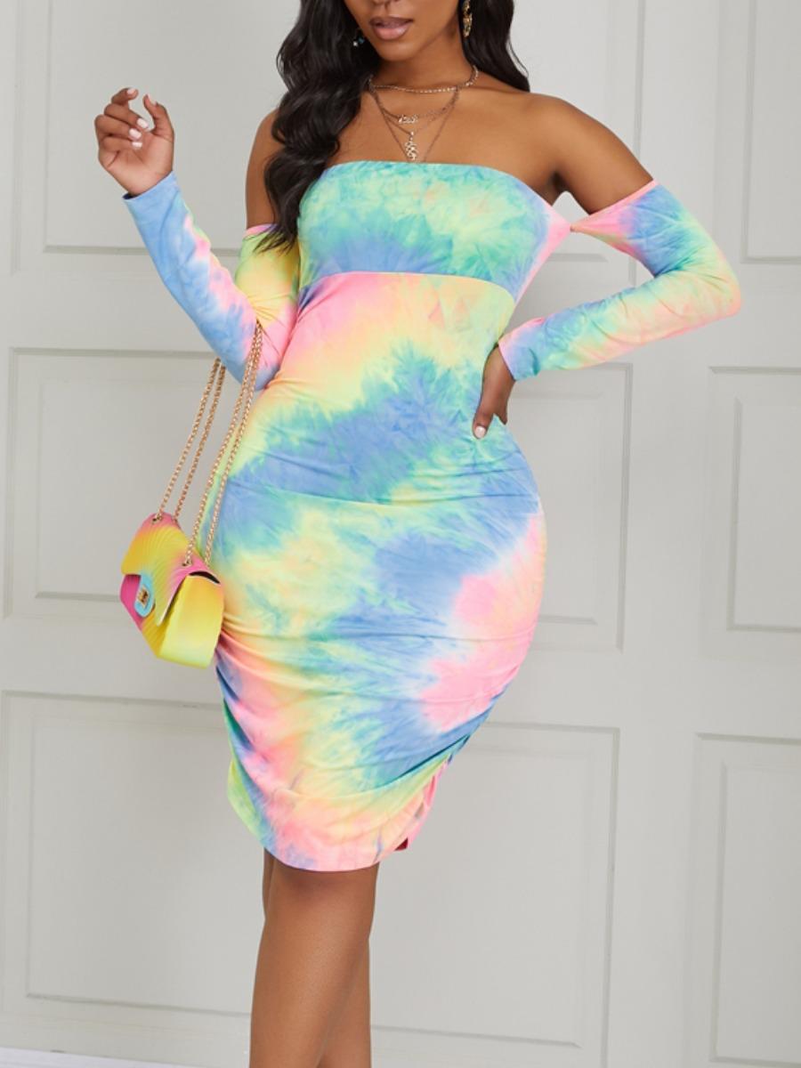 Lovely Stylish Dew Shoulder Tie-dye Multicolor Knee Length Dress фото